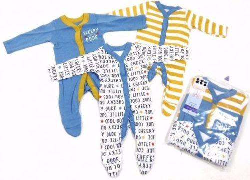 Nutmeg Baby Boys Cool Dude Stripe 3 Pack Sleepsuits - Stockpoint Apparel Outlet
