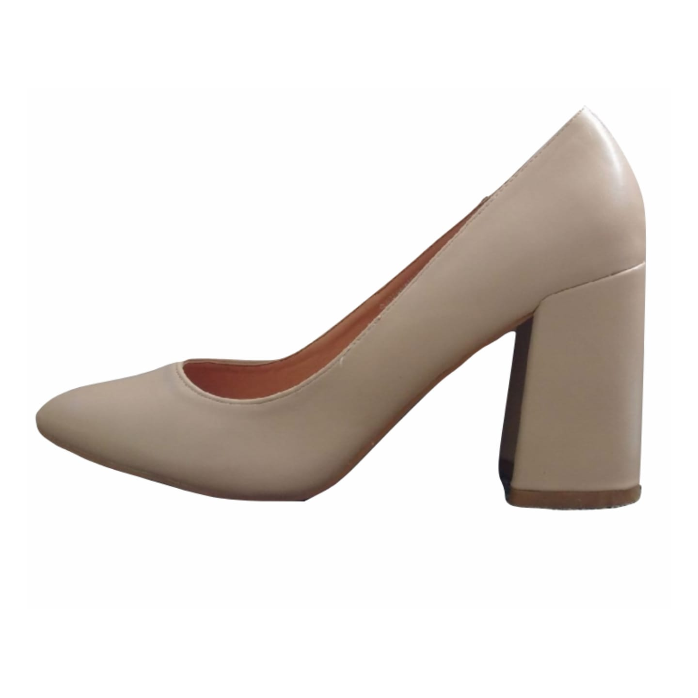 Red Kiss Nude Block Heel  Pumps
