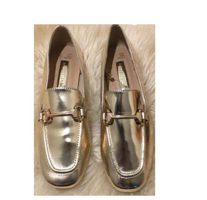 sale authentic cheap sale Primark Womens Gold Loafers Slip On Pumps Shoes