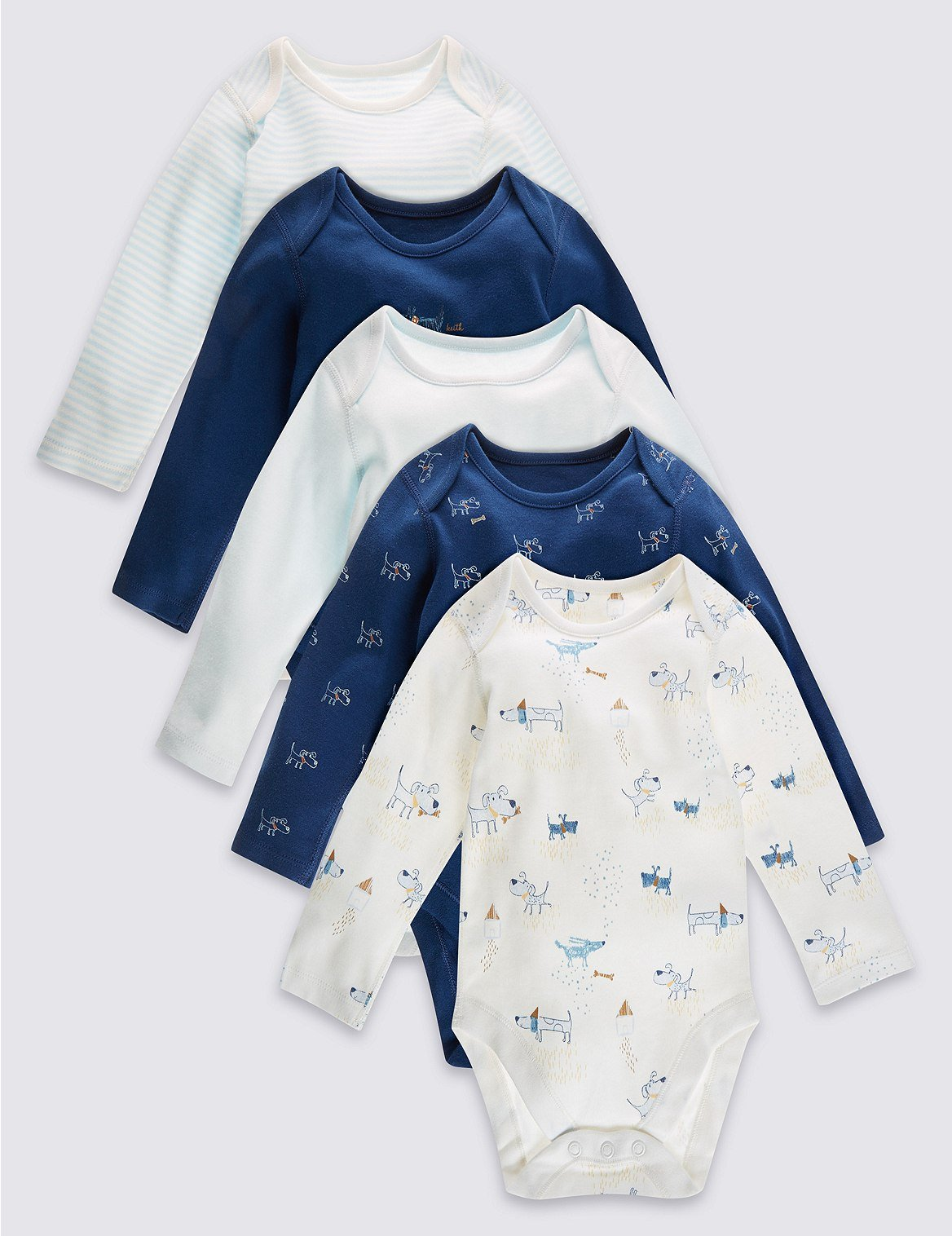 M&S Baby Boys 5 Pack Pure Cotton Layette Long Sleeved Bodysuit