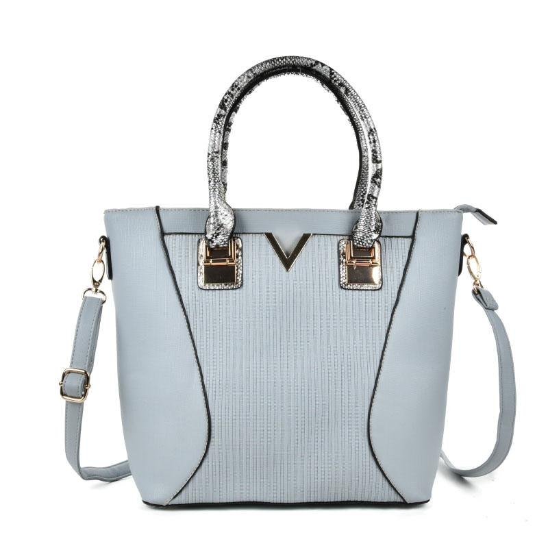 Womens Blue Snakeskin Straps Tote Bag