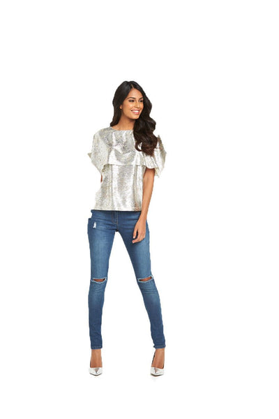 V By Very Metallic Double Layer Womens Top