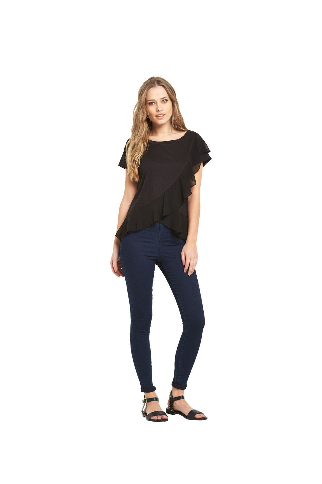 V By Very Ruffle Front Jersey Womens Top