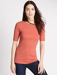 M&S Pure Cotton Scoop Neck Half Sleeve T-Shirt
