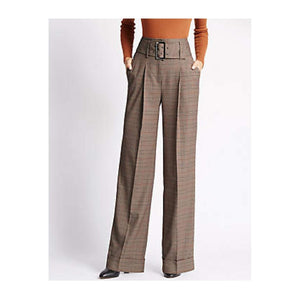 M&S Belted Check Womens Trousers