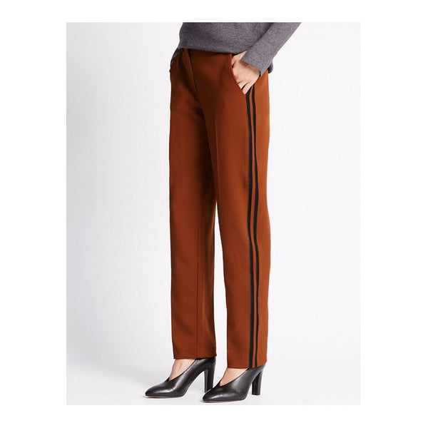 M&S Womens Brown Side Stripe Trousers