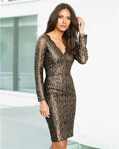 Next Womens Gold Lace Dress