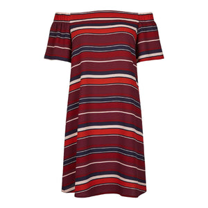 New Look Red Stripe Bardot Neck Dress