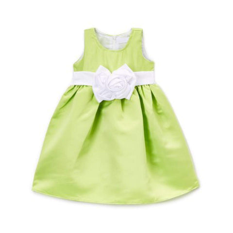 Z by Yoon Girls Green Flower A-Line  Dress