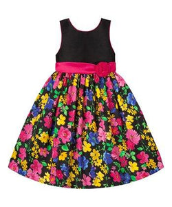 American Princess Girls Black & Dark Pink Floral Sash A-Line Dress