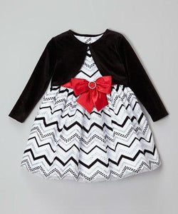 Youngland Girls Black & White Zigzag Bow Dress