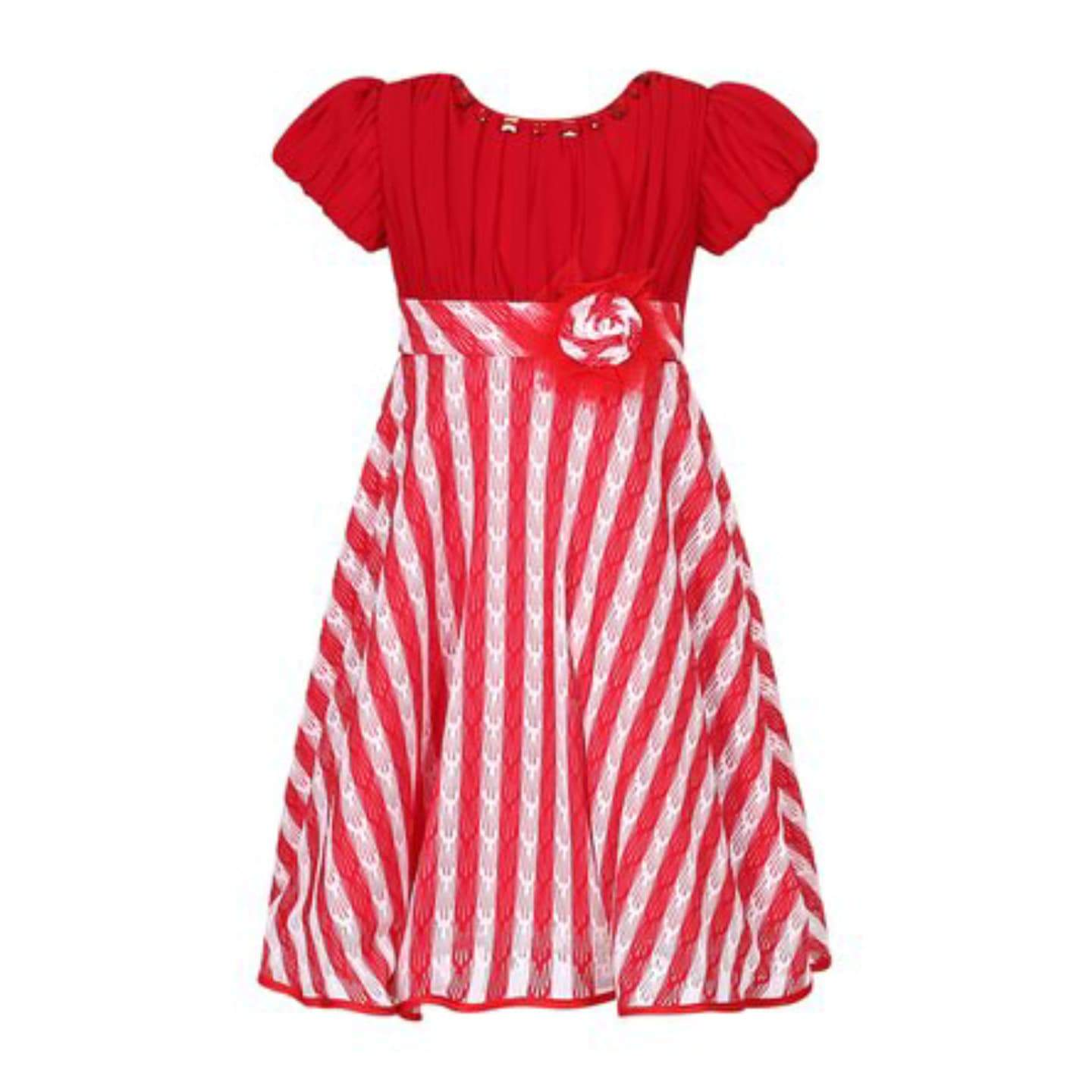 Richie House Baby Girls Red & White Stripe Short-Sleeve Party Dress