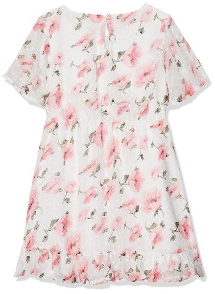 Yumi Girl's Dobby Floral Bell Sleeve (Multi) Dress - Stockpoint Apparel Outlet