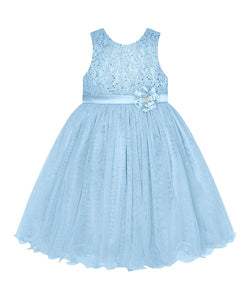 American Princess Blue Perforated Floral-Belted A-Line Girls Dress