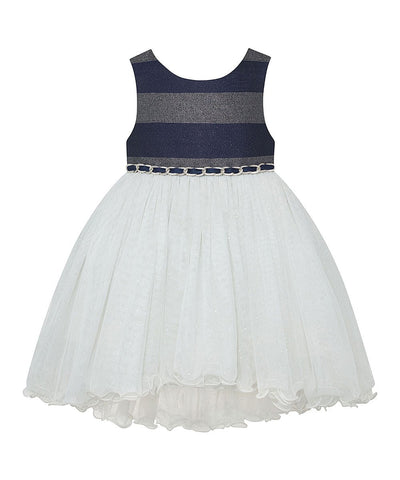 America Princess Navy & Silver Sparkle Stripe-Accent Sleeveless A-Line Girls Dress.