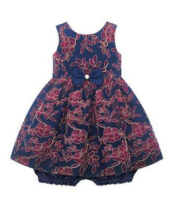 American Princess Bow Accent Navy & Red Floral Younger Girls Dress - Stockpoint Apparel Outlet