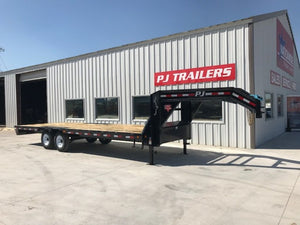 PJ Trailers 24 ft flatbed gooseneck with singles