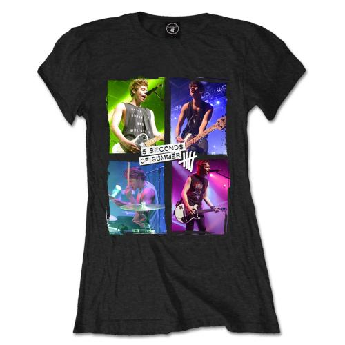 5 Seconds of Summer Ladies T Shirt: Live in Colours (Large Only)