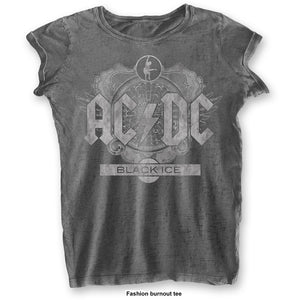 AC/DC Ladies Fashion T Shirt: Black Ice (Burn Out)