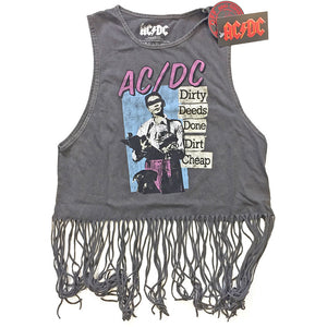 AC/DC Ladies T Shirt Vest: Dirty Deeds Done Dirt Cheap (Tassels)