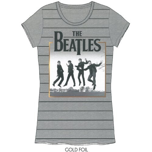 The Beatles Ladies Premium T Shirt: Leaping with Foiled Application