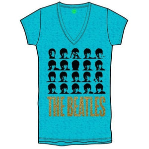 The Beatles Ladies Fashion T Shirt: Hard Days Night Faces with Burn Out Finishing and Glitter Print Application