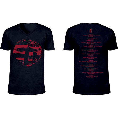 The Cure T Shirt: Eastern Red Logo (Ex-Tour/V-Neck & Back Print)