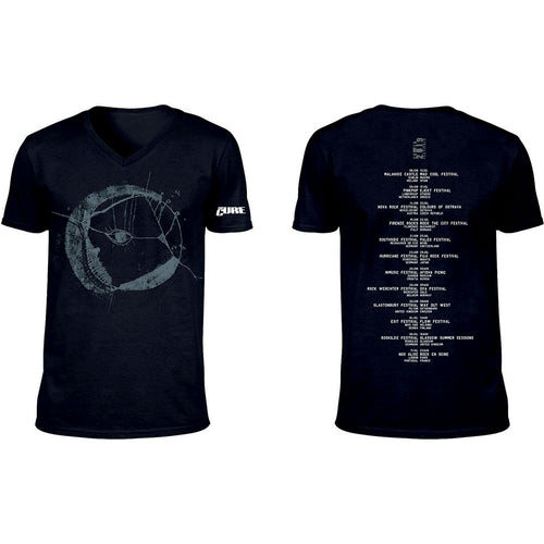The Cure T Shirt: Eyemoon Logo (Ex-Tour/V-Neck & Back Print)