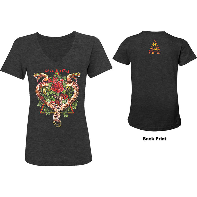 Def Leppard Ladies T Shirt: 2018 Tour Love Bites (Ex. Tour/Back Print)