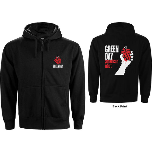 Green Day Ladies Zipped Hoodie: American Idiot (Back Print)