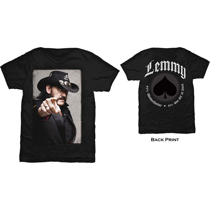 Lemmy T Shirt: Pointing Photo (Back Print)