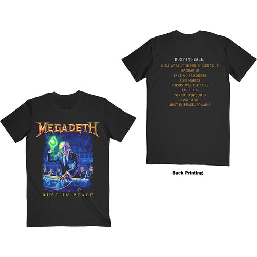 Megadeth T Shirt: Rust In Peace Tracklist (Back Print)