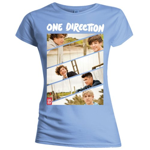 One Direction Kid's T Shirt: Band Sliced (Slim Fitting)