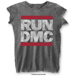 Run DMC Ladies T Shirt: DMC Logo (Burn Out)