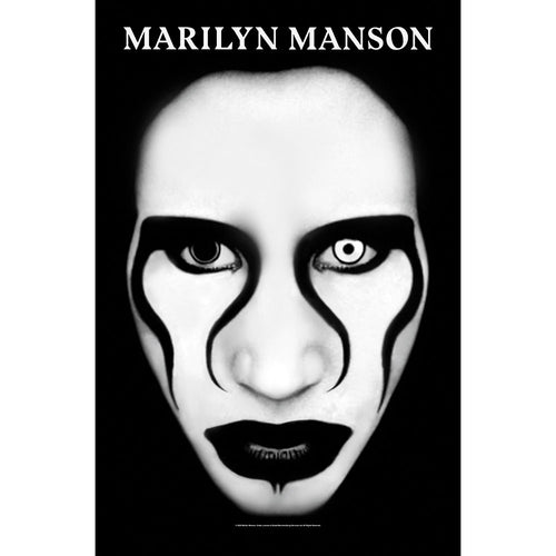 Marilyn Manson Textile Poster: Defiant Face