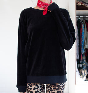 Black velour sweater XS S