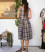 Load image into Gallery viewer, 80s Cotton Plaid Dress L