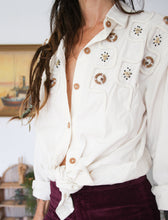 Load image into Gallery viewer, 80s Calico Embellished Shirt M