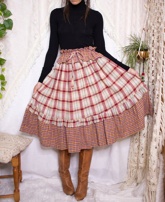 Vintage paperbag plaid skirt S-M-L