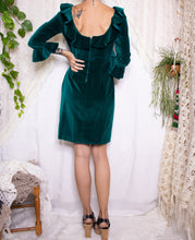 Load image into Gallery viewer, Green velvet 60s mini dress  S
