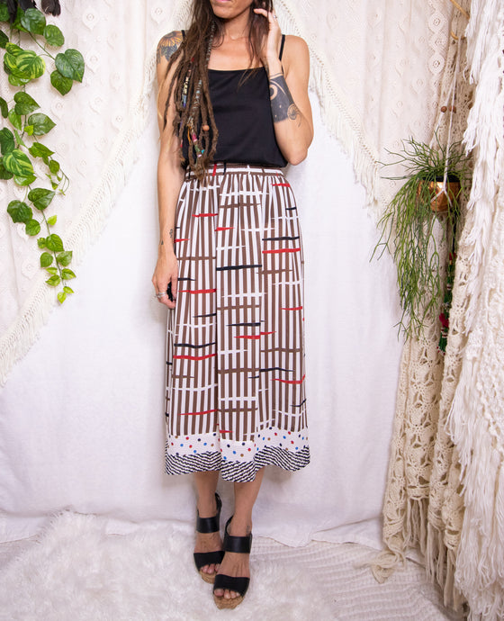 Mis-matched vintage midi skirt L