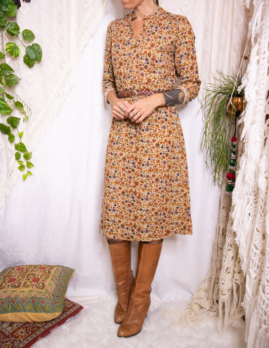 Floral Japanese vintage shirtdress XS