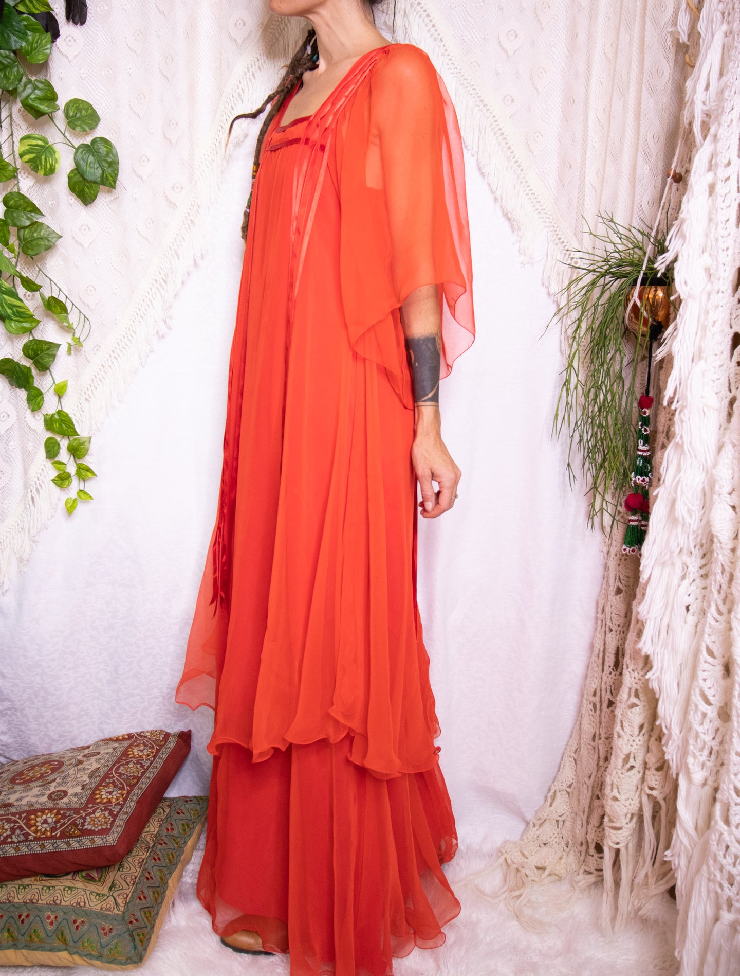 Dreamy 70s chiffon maxi dress S-M