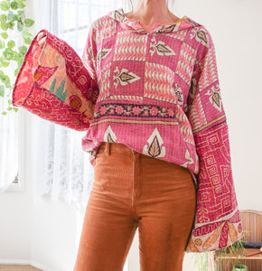 Earthy patchwork vintage sweater