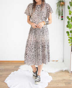 80's animal print day dress M