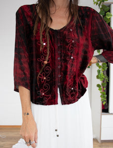 90s red velvet button-up top XS-S-M-L