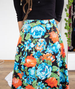 Sweet 70s floral midi skirt XS