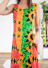 Load image into Gallery viewer, Fun 90s resort-wear column dress XS S M