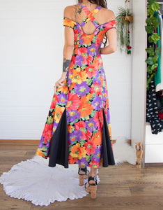 Floral vintage summer party dress M