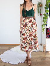Load image into Gallery viewer, Earthy floral vintage skirt M-L
